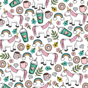 Unicorns and Frappuccinos, Donuts and Rainbows Little Girl Print