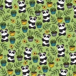 Little Pandas, Cute Succulents, Black and White and Green