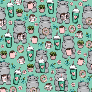 Little Hippos And Lattes, Coffee and Donuts, Frappuccinos, Aqua Print