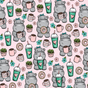 Hippos and Lattes, Coffee and Donuts, Pink Floral Print