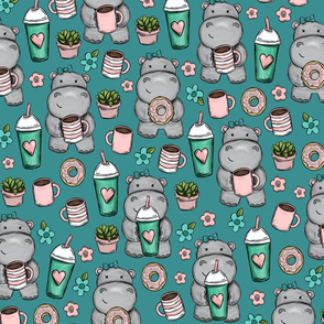 Hippos and Lattes, Coffee and Donuts, Blue Print
