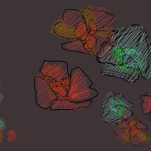 Wallpaper flowers ink deep