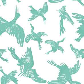 Cranes Flight of Feathers plain green2