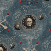 ★ PIRATES ★ Vintage Denim, Small Scale / Collection : Sailing the Seven Seas – Nautical Prints