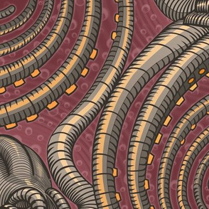 ★ KRAKEN ' ROLL ★ Burgundy Red - Jumbo Scale / Collection : Kraken ' Roll – Steampunk Octopus Print