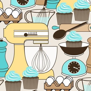 Baking Cupcakes - Turquoise Blue and Butter Yellow