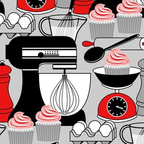 Baking Cupcakes - Red, Black, White and Gray 2