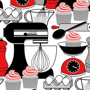 Baking Cupcakes - Red, Black, White and Gray