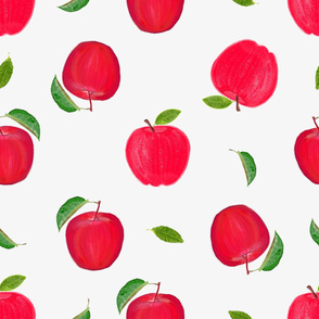 Hand drawn red apples cute fruits pattern