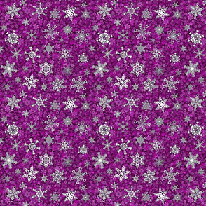 snowflakes - heart designs on magenta snowstorm