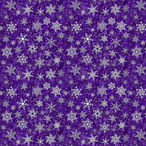 snowflakes - swirl designs on violet purple snowstorm