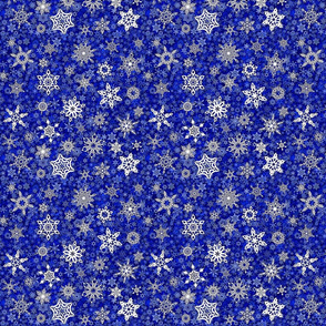 snowflakes - geometric designs on blue snowstorm