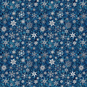 snowflakes - Christmas shapes on teal blue
