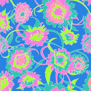 Rotated - Hawaiian Tropical Floral in Neon Blue + Lime