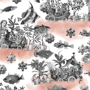 Modern Toile Sea World Pattern