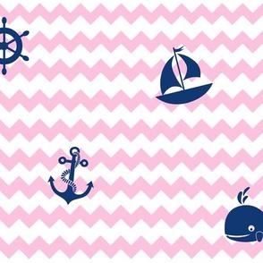 Nautical Navy Blue Pink Chevron Baby Girl