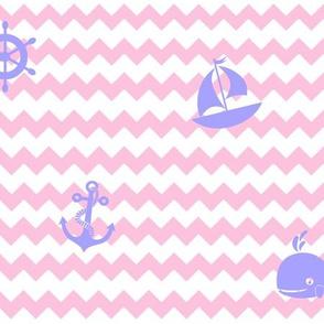 Nautical Purple Lavender Pink Chevron Girl Nursery