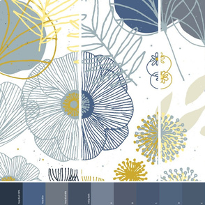 Spring Floral  by Friztin White Navy Options 3 in 1