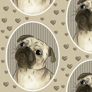 Love for pugs -beige big