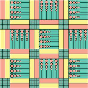 "40 Something (6""): Pink & Blue Green Retro Geometric Tiles"