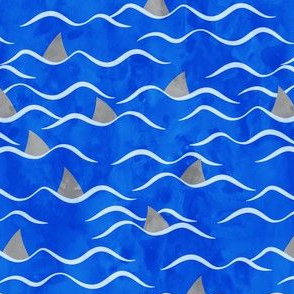 Sharks! - shark fin - dark blue waves - beach - LAD19