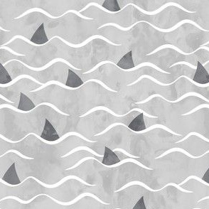 Sharks! - shark fin - grey waves - beach - LAD19