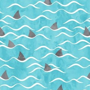 Sharks! - shark fin - blue waves - beach - LAD19