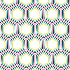 Geometric retro hexagon shape seamless pattern.