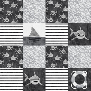 shark wholecloth - black and white - shark nursery - LAD19