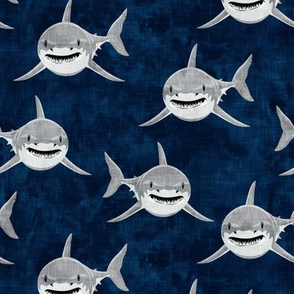 sharks - sharks on navy - great white - LAD19
