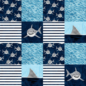 Shark Wholecloth - Navy - shark and fin - shark nursery - LAD19