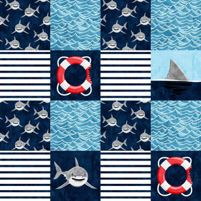 Shark Wholecloth - Navy - shark, fin, and life preserver - shark nursery - LAD197
