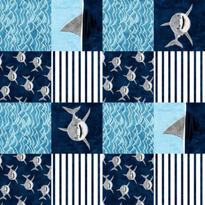 Shark Wholecloth - Navy - shark and fin - shark nursery (90) - LAD19