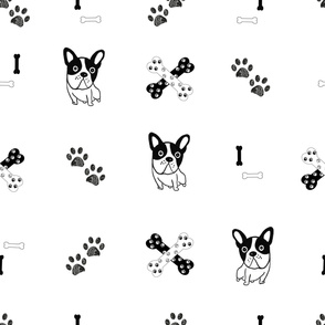 Hand Drawn Bulldog, Paw Print and Bones Hound Design Pattern