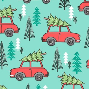 Holiday Christmas Tree Red Car Woodland Fall on Mint Green Larger 3,5 inch