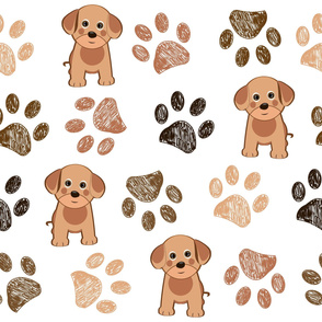 Cute Dog and Hand Drawn Paw Print Pattern