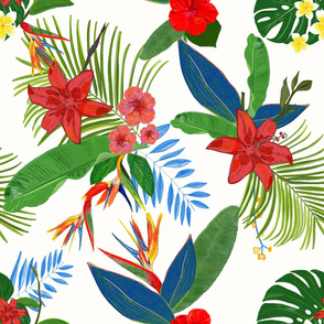 Heaven Bird Flower, Lily and Frangipani Tropical Flowers Pattern
