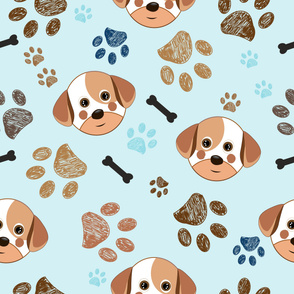 Cute Dog, Paw Print and Bone Funny Pattern