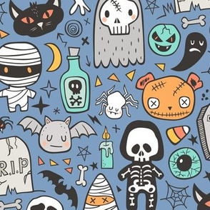 Halloween Doodle Skulls,Spiders,Skeleton,Bat, Ghost,Web, Zombies on Blue Larger 3 inch