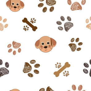 Dog and doodle paw prints and bones pattern