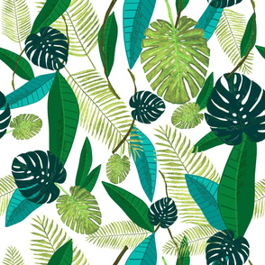 Green Tropical Watercolor Leaves Pattern