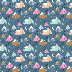 Geometric blue mountains climbing and bouldering new moon night winter cool blue pink XS