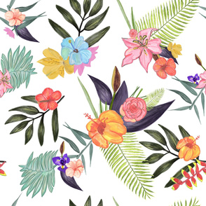 Tropical Brush Watercolor Exotic Flowers Pattern White Background