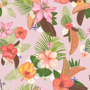 Tropical Watercolor Flowers and Leaves Pattern