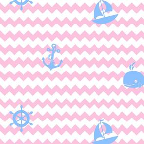 Nautical Blue Pink Chevron Baby Girl Nursery