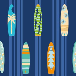 Let's go surf! Lines of colorful surfboards with a dark blue striped background