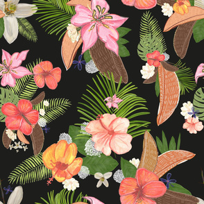 Tropical Watercolor Flowers and Leaves Pattern With Black Background