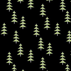 GreenTrees (black) Woodland Forest Fabric, gray tree trunks