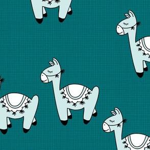 Kawaii Llama baby nursery sleepy alpaca wool animals on off white linnen autumn winter petrol blue boys