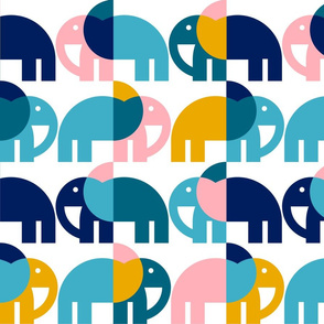 Color Block Elephants